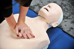 Resuscitation procedure on a mannequin Stock Photography