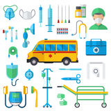 Resuscitation symbols vector illustration. Resuscitation symbols first aid kit and hospital resuscitation symbols flat vector. Resuscitation symbols vector Stock Images