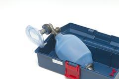 Resuscitator( ambu-bag ). In emergency box Stock Image