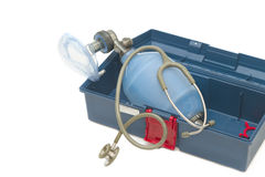 Resuscitator( ambu-bag ) with Stethoscope Royalty Free Stock Photo