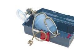 Resuscitator( ambu-bag ) with Stethoscope. In emergency box Royalty Free Stock Photo
