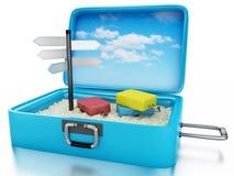 resväska för lopp 3d Sommaren semestrar begrepp Royaltyfria Bilder