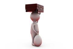 resväska för man 3d på det head begreppet Fotografering för Bildbyråer