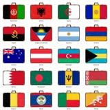 Resväska med flaggan Royaltyfria Bilder