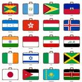 Resväska med flaggan Arkivfoto