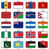 Resväska med flaggan Fotografering för Bildbyråer