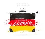 Resväska med flaggan av Tyskland bokstäver royaltyfri illustrationer