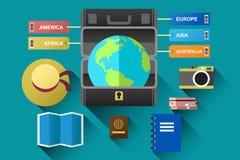 Resväska med jordklotet för loppbegrepp Fotografering för Bildbyråer