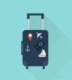 Resväska med klistermärkear för dublin för bilstadsbegrepp litet lopp översikt Stil för design för vektorillustrationlägenhet Royaltyfria Foton
