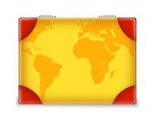 Resväska med världskartan Royaltyfri Foto