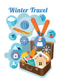 Resväska med vinterobjekt och symboler Stock Illustrationer