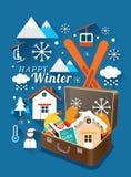 Resväska med vintersymboler Stock Illustrationer