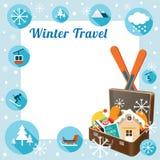 Resväska med vintersymboler, ram Royaltyfri Illustrationer
