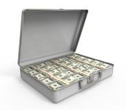 Resväska mycket av pengar Arkivbild