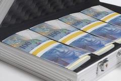 Resväska mycket av schweizisk franc royaltyfri fotografi