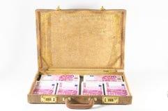 Resväska mycket av sedlar Fotografering för Bildbyråer