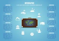 Resväskan med sorten av feriesymboler avslutar världskartan Royaltyfri Bild
