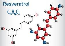 Resveratrol molecule. It is natural phenol, phytoalexin, antioxidant. Structural chemical formula and molecule model. Vector illustration vector illustration