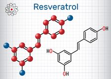 Resveratrol molecule. It is natural phenol, phytoalexin, antioxidant. Structural chemical formula and molecule model. Sheet of pa. Per in a cage. Vector vector illustration