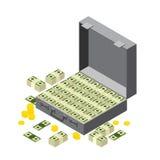 Resväska av pengar, buntar av dollar och mynt isometriskt Royaltyfri Bild