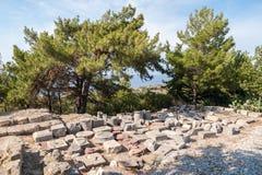 Resztki Antyczny miasteczko Kamiros, Hellenistyczny miasto wspominający homerem Pliths exavated od miejsce stawiającego dalej pok zdjęcia royalty free
