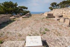 Resztki Antyczny miasteczko Kamiros, Hellenistyczny miasto wspominający homerem Przekład: Sanktuarium bogowie Grecka wyspa obraz stock