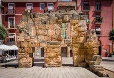 Resztki Małomiasteczkowy Forum& x27; s portyk Tarraco, Tarragona, Hiszpania Zdjęcie Stock