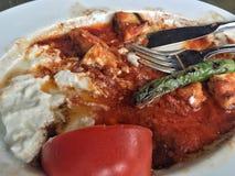 Resztki turecczyzna Kebab na talerzu obraz royalty free