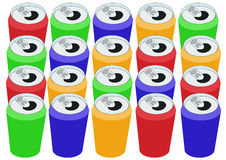Retângulo de latas coloridas Foto de Stock Royalty Free