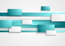 Retângulos cianos e brancos e listras tech ilustração royalty free