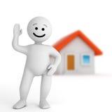 Retén blanco del carácter de la sonrisa con la casa ilustración del vector