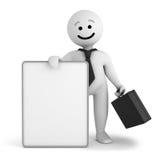 Retén del hombre de negocios del carácter de la sonrisa con la bandera ilustración del vector