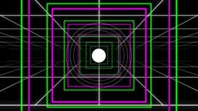 Retículas cuadradas y lazo de neón retros del estallido del círculo