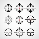 Retículo (vista de arma), iconos de la blanco ilustración del vector