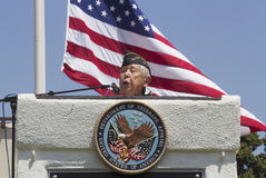 Ret. Lt. Yoshito Fujimoto speaking at Los Angeles National Cemetery Annual Memorial Event, May 26, 2014, California, USA Royalty Free Stock Image