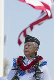 Ret. Lt. Yoshito Fujimoto and US Flag, Los Angeles National Cemetery Annual Memorial Event, May 26, 2014, California, USA Royalty Free Stock Image