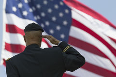 Ret. Milton S. Herring saluting U.S. flag, Los Angeles National Cemetery Annual Memorial Event, May 26, 2014, California, USA stock image