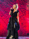 Rita Ora. Performing live at the MOBO awards, Leeds First Direct Arena, UK Stock Photography