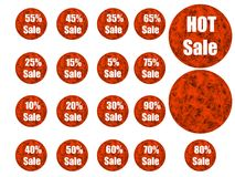 Retail. Fiery emblems with discounts and percent Royalty Free Stock Photos