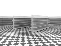 Retail backgrounds. Standard supermarket shelving system - high res render Stock Photos