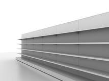 Retail backgrounds. Standard supermarket shelving system - high res render Stock Image