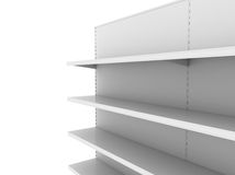 Retail backgrounds. Standard supermarket shelving system - high res render Royalty Free Stock Photos