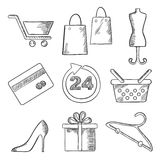 Retail, business and shopping sketched icons stock illustration