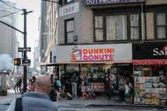 Famous chain of cakes and beverages seen in downtown New York, USA. stock image