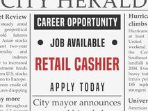 Retail cashier job. Retail cashier career - job hiring classified ad vector in fake newspaper Royalty Free Stock Photos