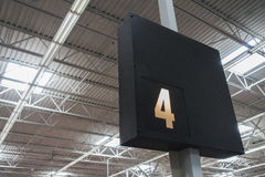 Retail checkout aisle. Lane number stock images