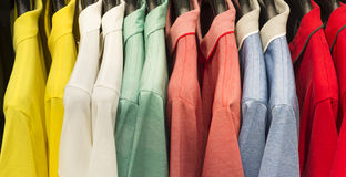 Retail - clothes rail with shirts Stock Photos