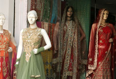Retail clothes store- Mannequins. Retail clothes store exhibit womens dress products using Mannequins on February 6,2016 in Hyderabad,India stock images