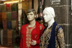 Retail clothes store- Mannequins. Retail clothes store exhibit womens dress products using Mannequins on February 6,2016 in Hyderabad,India stock photos