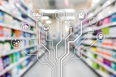 Retail concept marketing channels E-commerce Shopping automation on blurred supermarket background. Retail concept marketing channels E-commerce Shopping stock photography